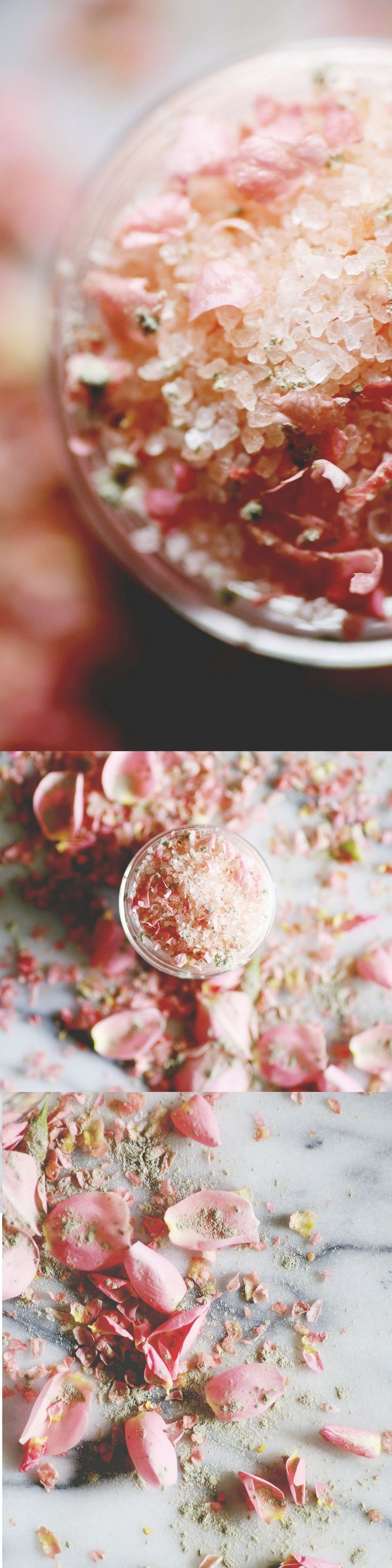 Feminine and pretty, this floral salt soak smells like roses and has a beautiful soft pink color thanks to the Himalayan salts. I love this particular DIY salt soak recipe because it takes about five minutes to create and makes a great gift.