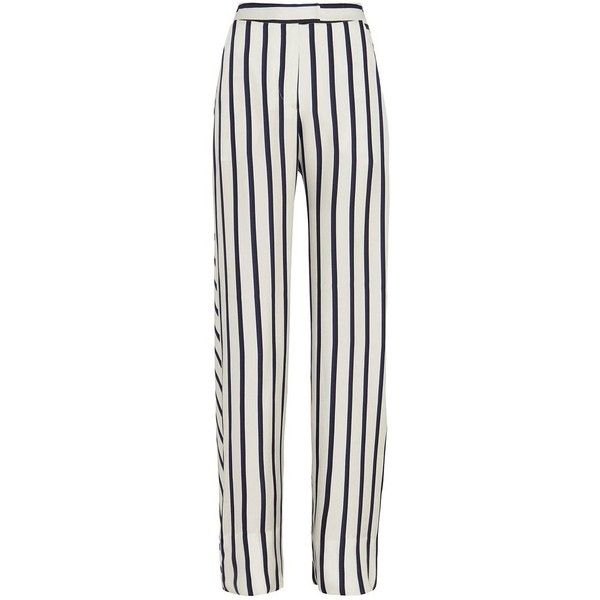 Nicholas Striped Wide-Leg Pant (€440) ❤ liked on Polyvore featuring pants, trousers, bottoms, jeans, pantalones, zipper pocket pants, white striped pants, pocket pants, stripe pants and white zipper pants