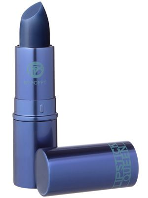 weird! this navy blue lipstick from Lipstick Queen apparently goes on sheer  makes your teeth look whiter  your complexion brighter, odd...but cool!