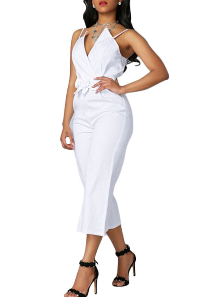 White V Neck Belted Wide Legs Jumpsuit_Jumpsuit & Rompers_Women Clothes_Sexy Lingeire | Cheap Plus Size Lingerie At Wholesale Price | Feelovely.com
