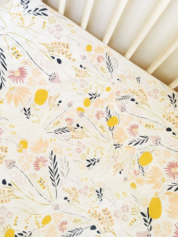 Beautiful floral crib sheet, goldenv flowers, baby girl bedding, floral, nursery bedding, crib sheets, baby bedding