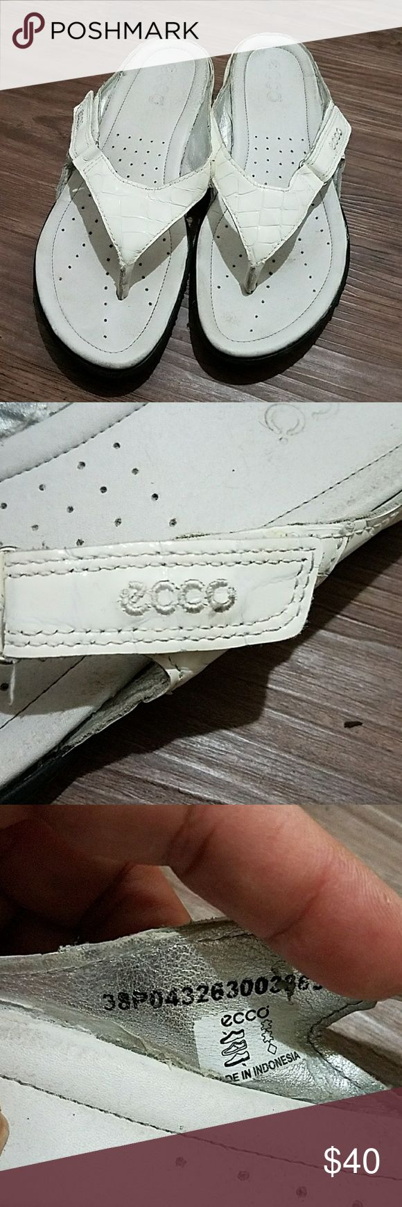 Ecco Sandals Whits patented leather with side velcro adjustability very comfy Ecco Shoes Sandals