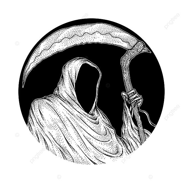 The Grim Reaper Hand Drawn Pointillism Illustration Isolated Vector Ancient Antique Art Png And Vector With Transparent Background For Free Download Grim Reaper Pointillism How To Draw Hands