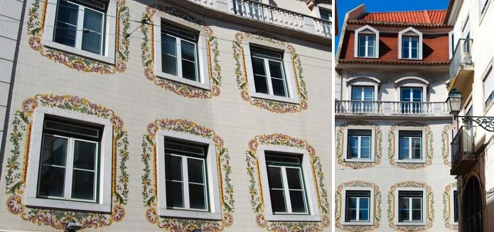 Instead of having images cover the entire façade, this curious building in Chiado (Rua Nova da Trindade by Calçada do Duque) simply uses tiles with floral motifs to frame the windows. The result is elegant and romantic.