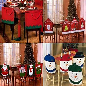 Set Of 4 Christmas Theme Chair Hat Back Covers Xmas Party Dinner Dining Table Festive Decoration Gift Elf Cover Size 49