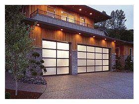 Garage door clopay avante bronze anodized aluminum with for Opaque garage door