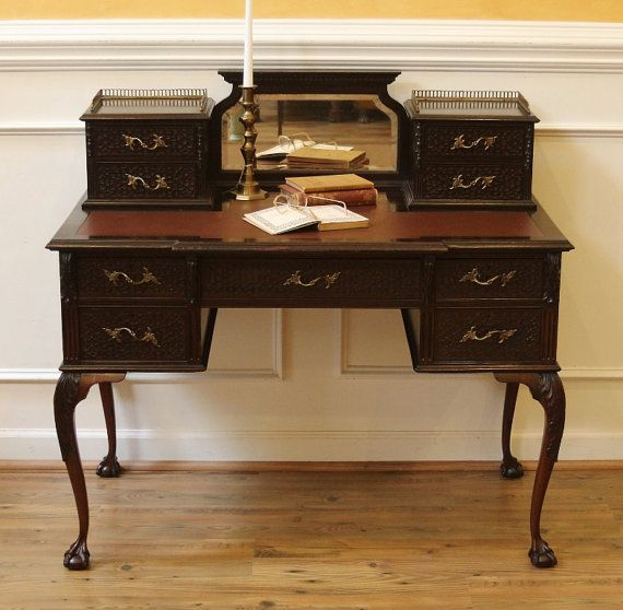 Antique Chippendale Desk Ladies Writing Table English Carved Mahogany Leather Top Writing Table Antique Writing Desk Writing Table Desk