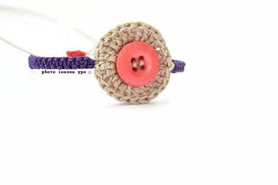 Pink button bracelet square knot bracelet beige crochet