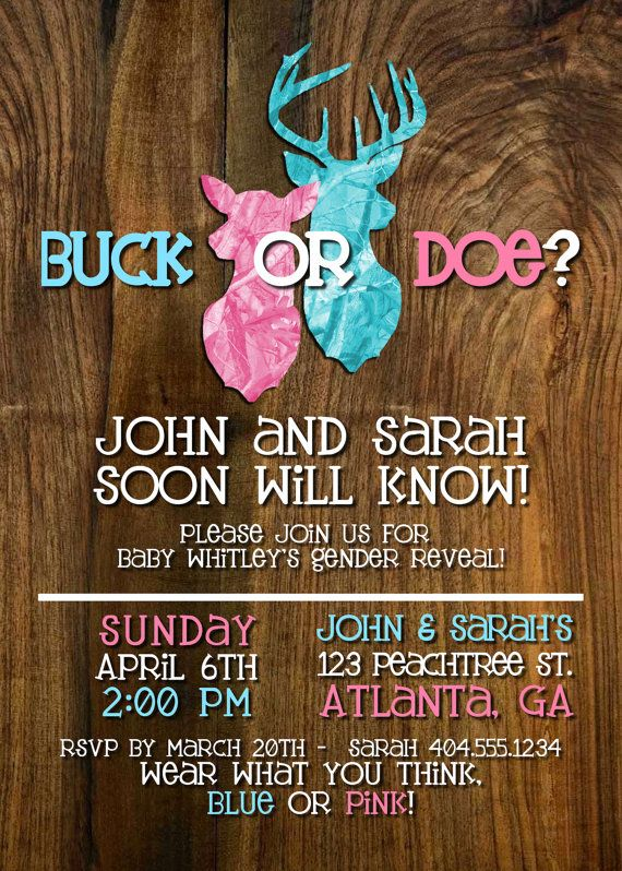 Buck or Doe Gender Reveal Party by DarlingSailorDesigns on Etsy, $8.00