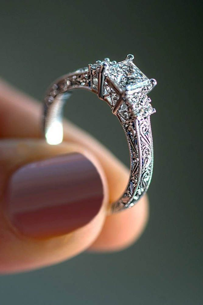 Five Steps To Your Engagement Or How To Do It In A Right Way ❤ vintage white gold engagement rings unique band princess cut diamond ❤ More on the blog: https://ohsoperfectproposal.com/steps-your-engagement/ #vintagerings