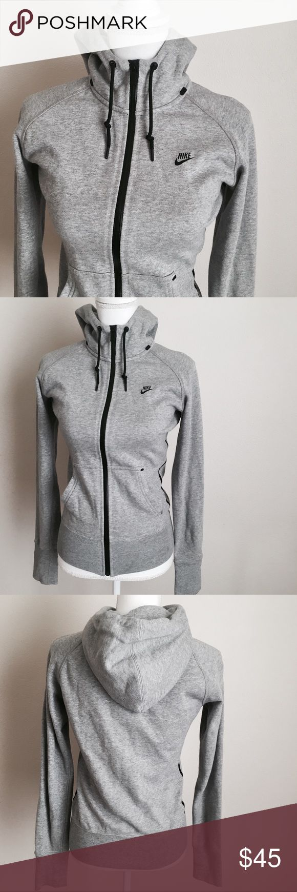 Nike Hoodie ✨ Heather gray Nike zip up with high neck and drawstring hood - Structured flattering fit - Black details ✨ Nike Sweaters
