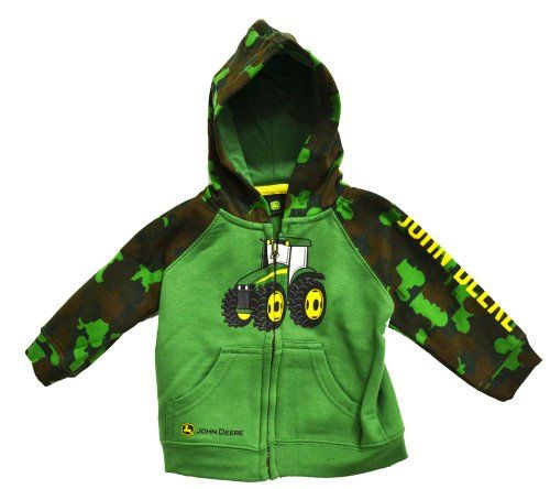 Amazon.com: John Deere Infant Tractor Zip Front Hooded Sweatshirt Camo Green: Clothing