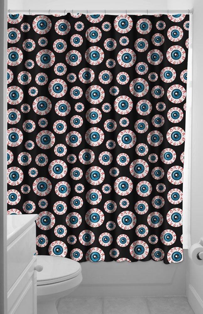 Goth Shower Curtain Part - 26: Optical Delusion Shower Curtain Bloodshot Eyeballs Horror