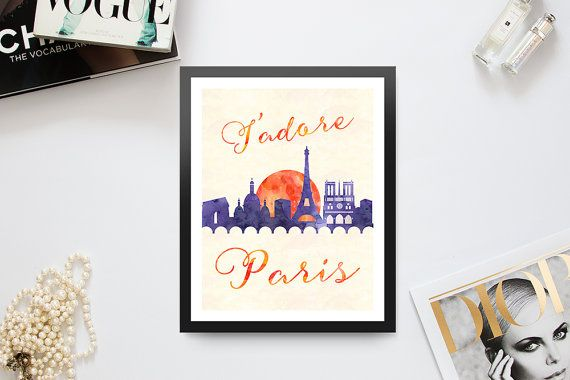 Printable Wall Art  Watercolor Print  J'adore Paris by Majesthink