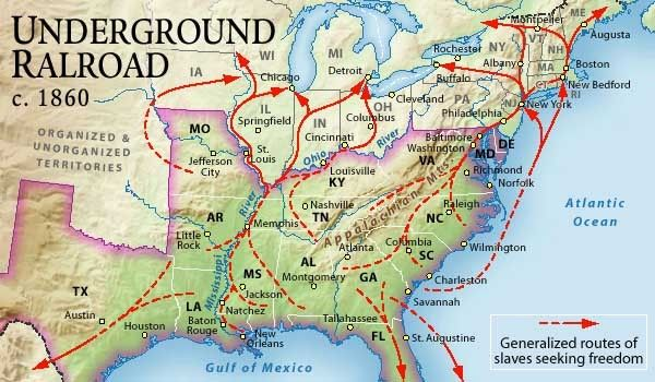 A map showing The Underground Railroad path