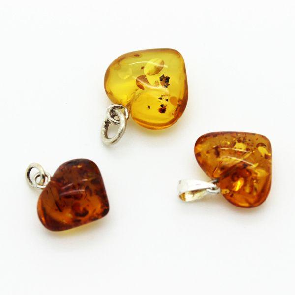 Honey, cognac and cherry amber hearts
