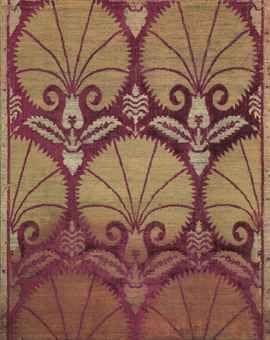 Ottoman voided silk velvet and metal panel. Turkey. Late 16th century. Crimson velvet ground with seven-petalled carnations.