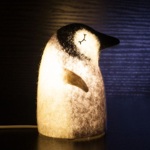 Penguin lamp, height - 16 cm, wet felting, embroidery, needle felting