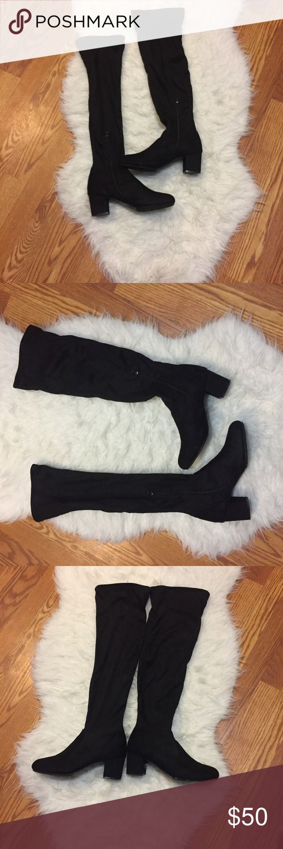 Black velvet over the knee sock boots sz 7.5 Worn twice, one time was to a concert which is where the stain at the bottom came from. it's in great condition!!!  Very sexy but I wear a 7 and these were the last pair so I bought a 7.5 but it's too big on me Shoes Over the Knee Boots