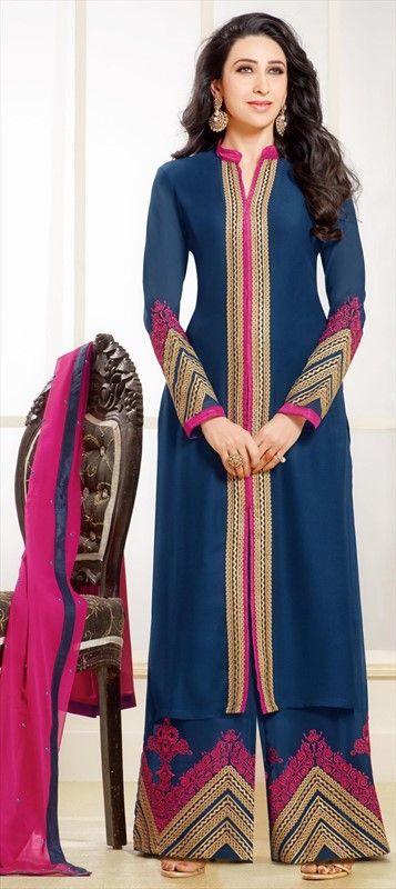433452 Blue  color family Bollywood Salwar Kameez, Party Wear Salwar Kameez in Faux Georgette fabric with Machine Embroidery, Resham, Thread, Zari work .