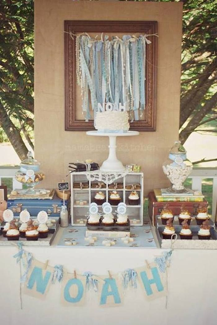 Vintage Christening + Baby Blessing Party via Kara' s Party Ideas KarasPartyIdeas.com Cakes, favors, cupcakes, games, and more! #vintagepart...