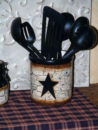handpainted primitive star kitchen decor set by primitivestardecor 2999 - Kitchen Decor Sets