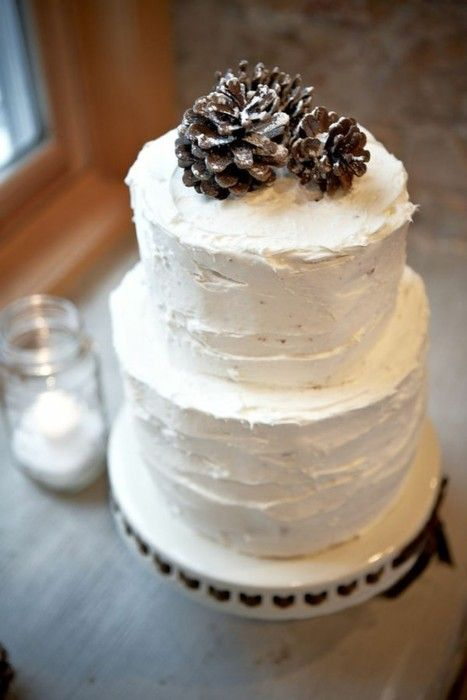 I really enjoy the simplicity and roughness of this cake! I just love pine cones!