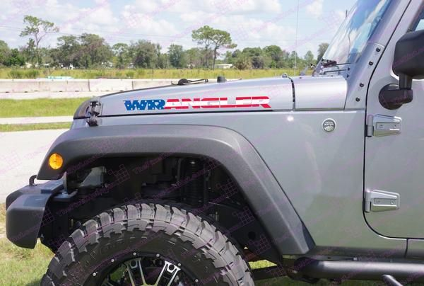 """Jeep WRANGLER USA Flag Hood Decal Kit JK (New Style) for your Jeep Wangler (all years) Includes: - Left and Right Hood Decals 24"""" x 1.8"""" Precision cut and gloss laminated for scratch resistance and 8"""
