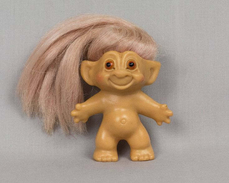 Troll Doll Boy troll doll Pointed ears Vinyl body Long blonde hair Brown eyes 3 inches tall Unsigned Pristine condition by eyespytreasure on Etsy