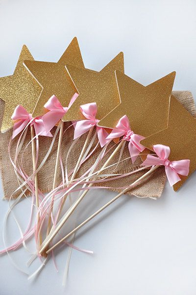 Pink and Gold Birthday Party Decoration - Star Wands 5CT - Fairy Wands - FREE SHIPPING by courtneyorillion on Etsy