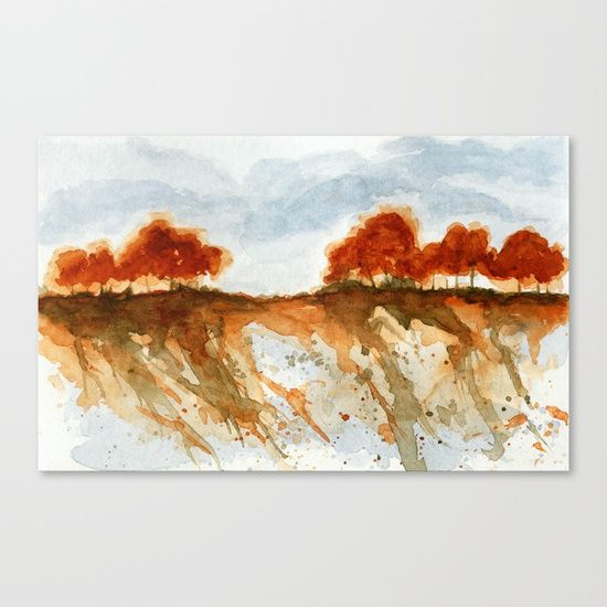 Firebranch Ridge, Watercolor Abstract Landscape Art Canvas Print