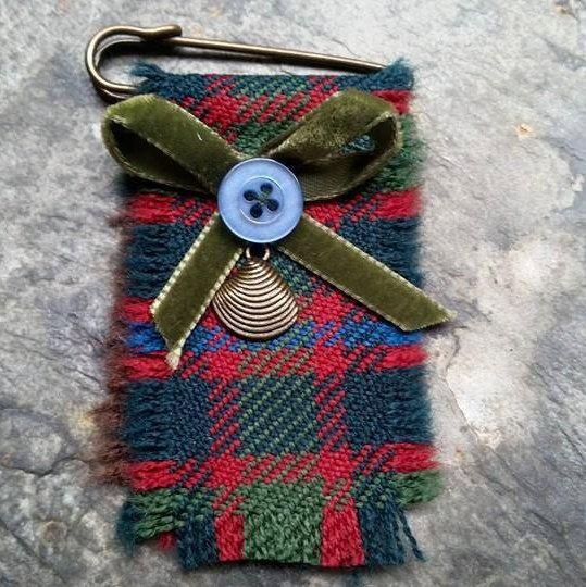 John Muir Way tartan Kilt Pin Shell Charm Brooch by LoullyMakes on Etsy