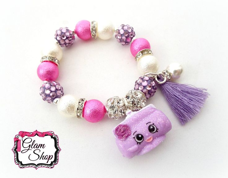 Shopkins Jewelry, Shopkins Charm Bracelet GLAMOUR SQUAD EXCLUSIVE Clutch Charm - Glitter Shopkins, Birthday Party Favors, Birthday Gift! by GlamShopBeads on Etsy