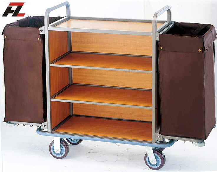 Hotel Brown Heavy Duty Housemaid Trolley-Housekeeping Cleaning Trolley