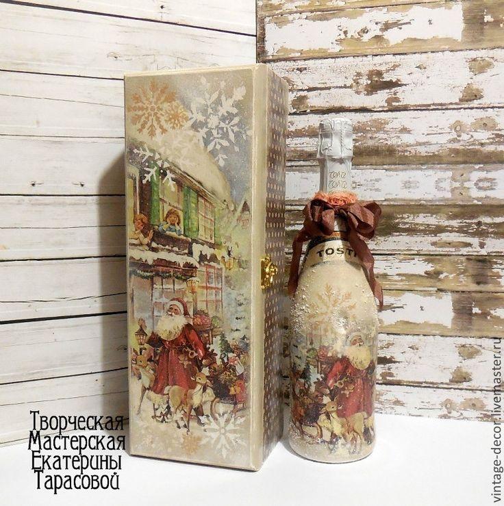 """Новый год 2015 ручной работы. Ярмарка Мастеров - ручная работа Короб для шампанского """"Дед мороз привез подарки"""". Handmade."""