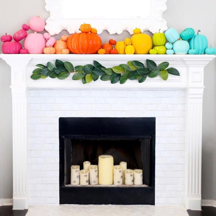 Did you see? Did you see?! My rainbow pumpkin mantel from last fall is in the ne…