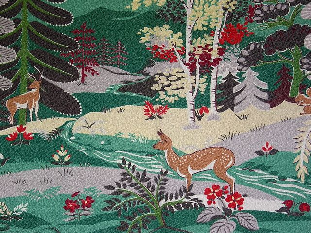 Vintage Woodland Scene Barkcloth Fabric Fabrics In 2019