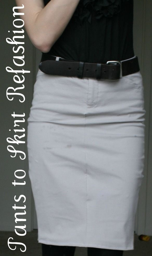 Super cute (and quick) pencil skirt from an old pair of dress pants!-- I haven't tested this one, but it looks sensible enough.