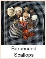 Barbecued Scallops. One of the easiest scallop recipes for the barbecue - wrapping them in brisket ensures they don't burn - just cook through to be succulent. You can either use leftover brisket, cook a joint especially for this recipe or buy sufficient brisket from the deli. This recipe makes 12 pieces - depends how hungry everybody is as to how many that will serve - but it would be great as part of a mixed barbecue - surf and turf so to speak :-)