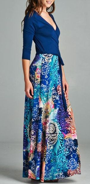 Madeline Surplice Dress.  Love the bold colors & long skirt.