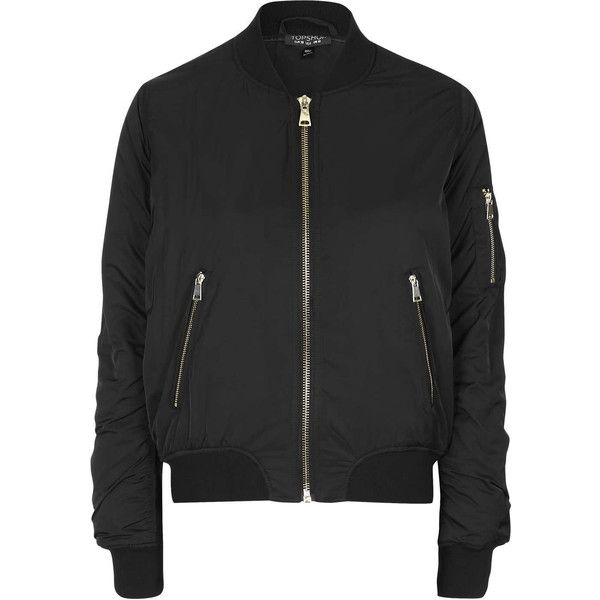 TOPSHOP MA1 Zip Bomber Jacket (£55) ❤ liked on Polyvore featuring outerwear, jackets, topshop, bomber jacket, coats & jackets, black, flight jacket, zipper jacket, zip jacket and black bomber jacket