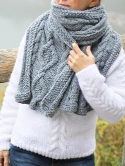 Winter Sky Cabled Scarf, knitted by IKAT Knitwear