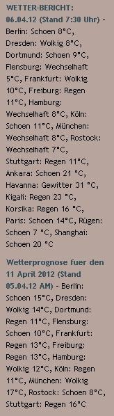 WETTER-BERICHT: 06.04.12 (Stand 7:30 Uhr) - http://www.schoeneswetter.com/wetterwuensche/wetter-2012/april-2012/wetter-6-april-2012.php
