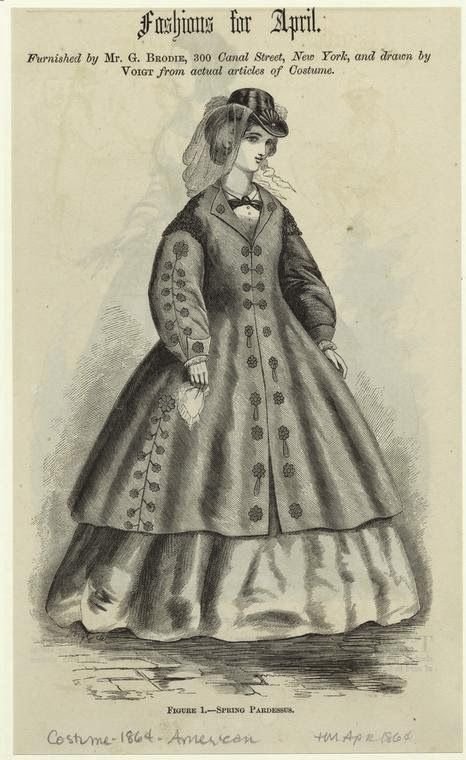 In the Swan's Shadow: Spring Pardessus. Harper's Magazine, April 1864.  Civil War Era Fashion Plate