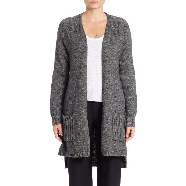 Eileen Fisher Wool and Silk-Blend Open-Front Cardigan ($378) ❤ liked on Polyvore featuring tops, cardigans, grey, open cardigan, long sleeve cardigan, grey open cardigan, eileen fisher cardigan and eileen fisher tops