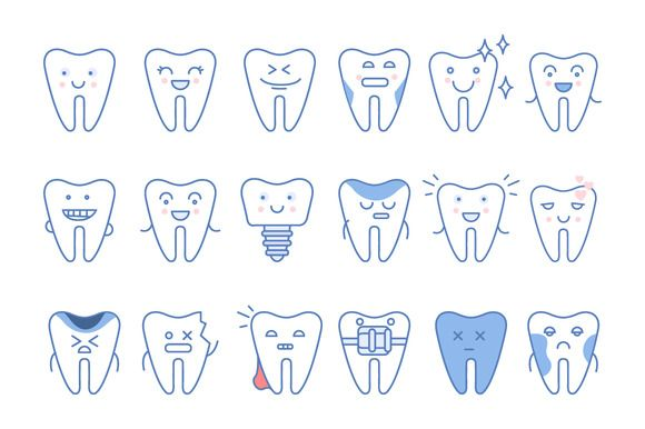 Tooth icons set, dental collection by TopVectors on @creativemarket