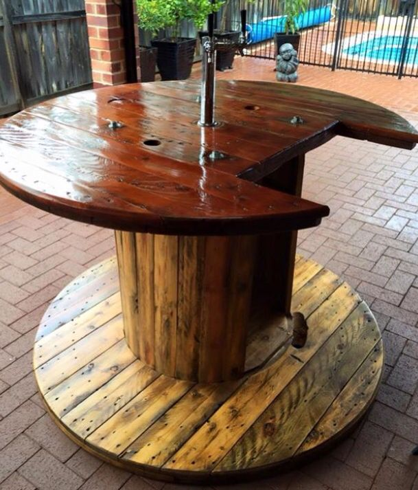 Pin By Wine Flower On Diy Outdoor Bar Cable Spool