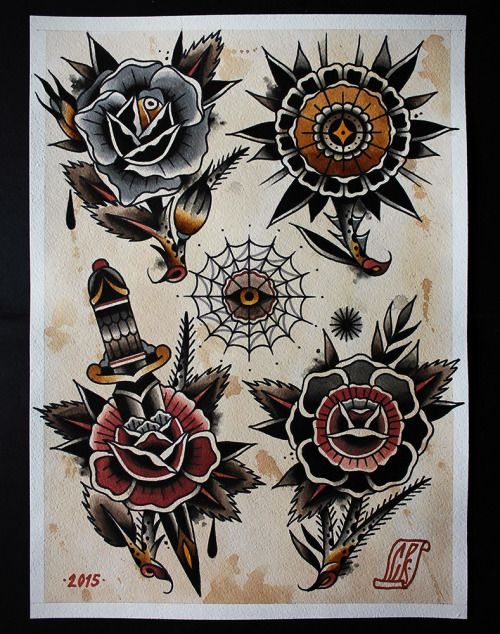 flowers tattoo flash | Tumblr