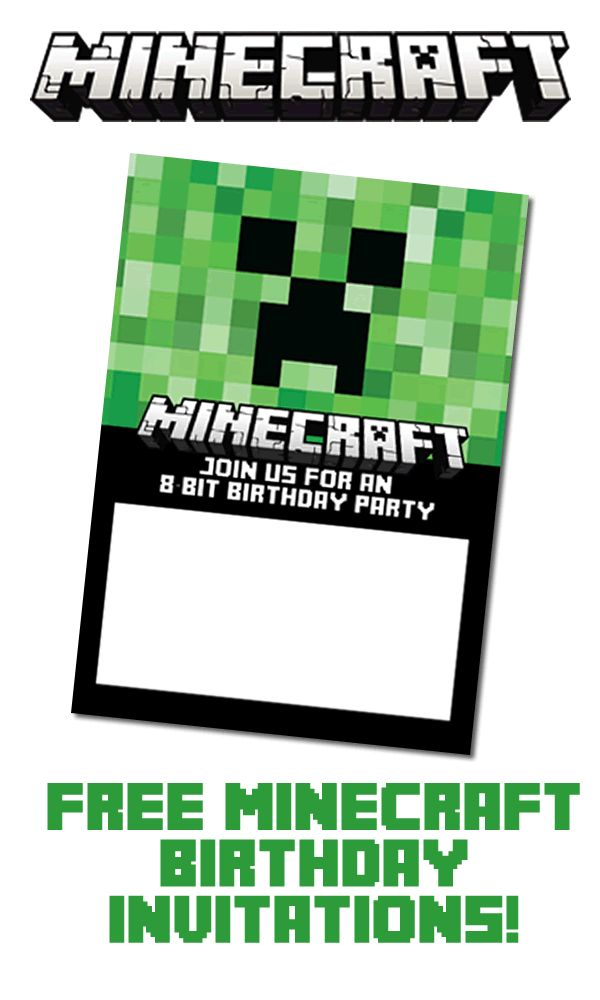 free minecraft invitations for print or evite birthday