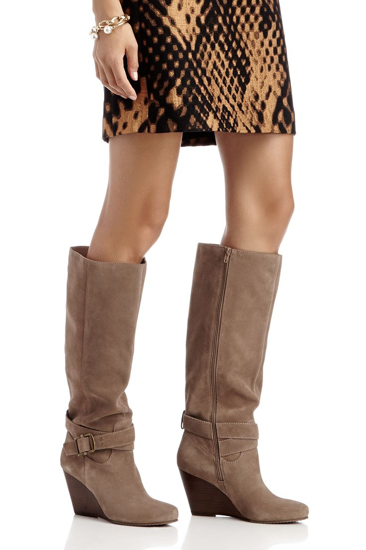 knee high wedge boots in taupe suede shoes